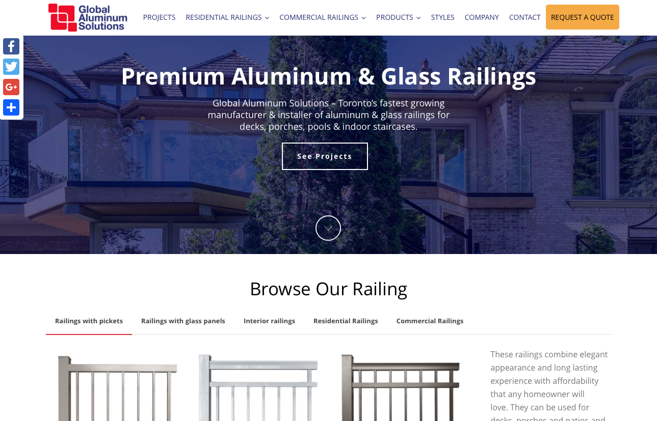 Aluminum railings manufacturer website + CRM